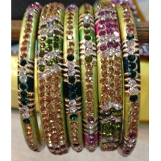 Green Multi Colour Lakh Bangles