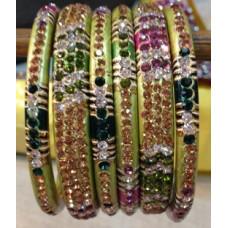 Green Multi Colour Lakh Bangles