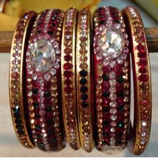Golden Red Lakh Bangles