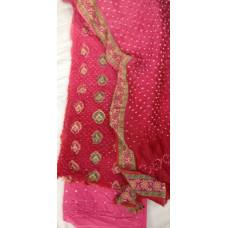 Gadwal Silk Bandhani Dress-Material