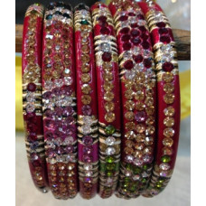 Red Multi Colour Lakh Bangles